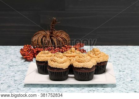 Chocolate Cupcakes With Peanut Butter Frosting In A Fall Setting With Bittersweet And A Wicker Pumpk
