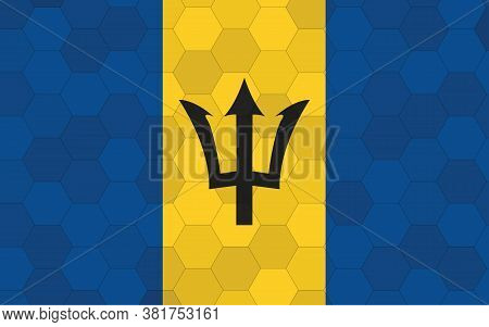 Barbados Flag Illustration. Futuristic Barbadian Flag Graphic With Abstract Hexagon Background Vecto