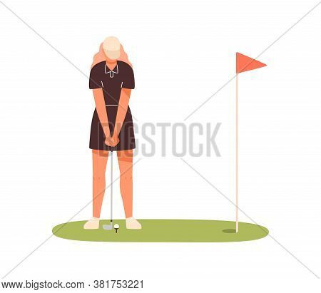 Professional Female Golf Player Aiming To Hit On Ball Vector Flat Illustration. Sportswoman In Cap H