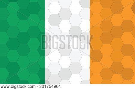 Ireland Flag Illustration. Futuristic Irish Flag Graphic With Abstract Hexagon Background Vector. Ir