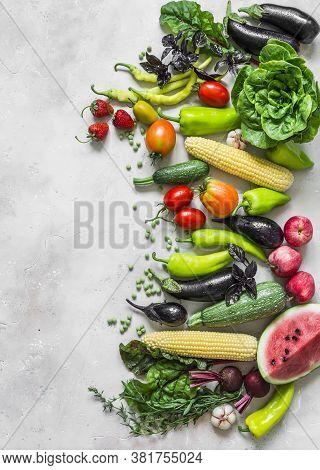 Summer Fresh Organic Vegetables Fruits Harvest Background. Organic Garden Vegetables, Berries, Fruit