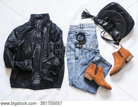 Women's Clothing Black Jacket Windbreaker, Mom's Blue Jeans, Black Leather Bag, Brown Suede Chelsea