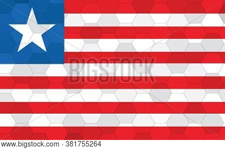 Liberia Flag Illustration. Futuristic Liberian Flag Graphic With Abstract Hexagon Background Vector.