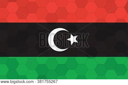 Libya Flag Illustration. Futuristic Libyan Flag Graphic With Abstract Hexagon Background Vector. Lib