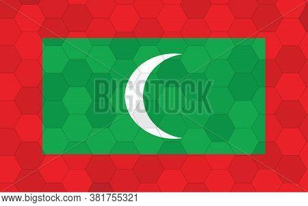 Maldives Flag Illustration. Futuristic Maldivian Flag Graphic With Abstract Hexagon Background Vecto