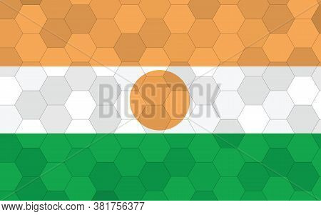 Niger Flag Illustration. Futuristic Nigerien Flag Graphic With Abstract Hexagon Background Vector. N