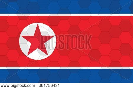 North Korea Flag Illustration. Futuristic North Korean Flag Graphic With Abstract Hexagon Background
