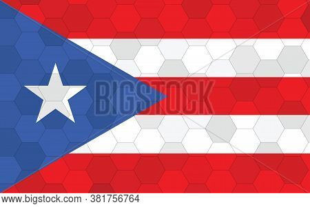 Puerto Rico Flag Illustration. Futuristic Puerto Rican Flag Graphic With Abstract Hexagon Background
