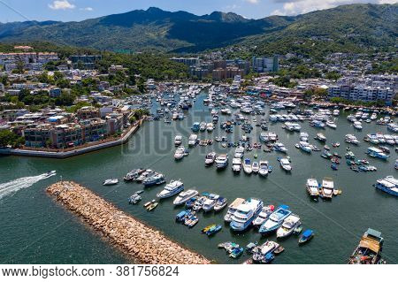 Sai Kung, Hong Kong 25 July 2020: Top view of Hong Kong sai kung