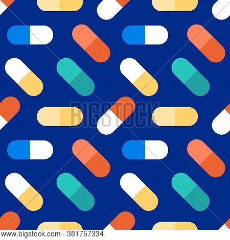 Colorful Vector Pills, Vitamins, Food Suppliments On Blue Seamless Pattern Background.