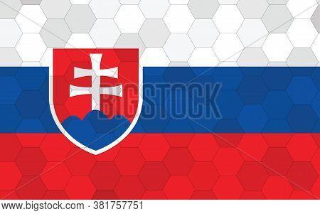 Slovakia Flag Illustration. Futuristic Slovak Flag Graphic With Abstract Hexagon Background Vector.