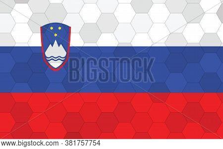 Slovenia Flag Illustration. Futuristic Slovenian Flag Graphic With Abstract Hexagon Background Vecto