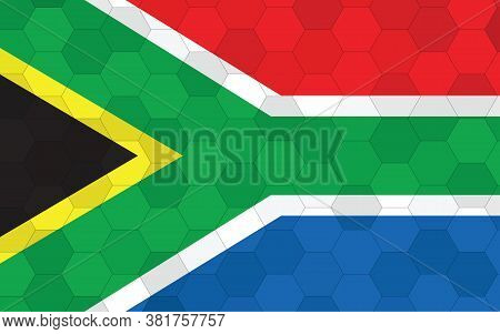 South Africa Flag Illustration. Futuristic South African Flag Graphic With Abstract Hexagon Backgrou