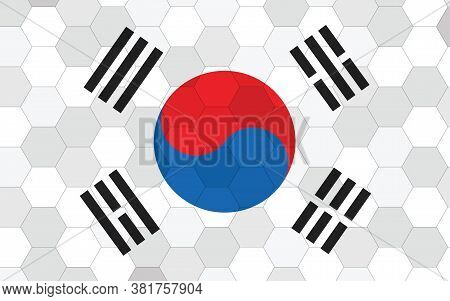South Korea Flag Illustration. Futuristic South Korean Flag Graphic With Abstract Hexagon Background