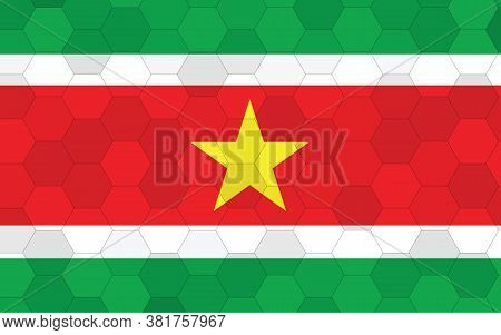 Suriname Flag Illustration. Futuristic Surinamese Flag Graphic With Abstract Hexagon Background Vect