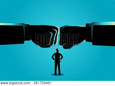 Business Concept Vectro Illustration Of A Businessman Watching Two Giant Fist Clashed