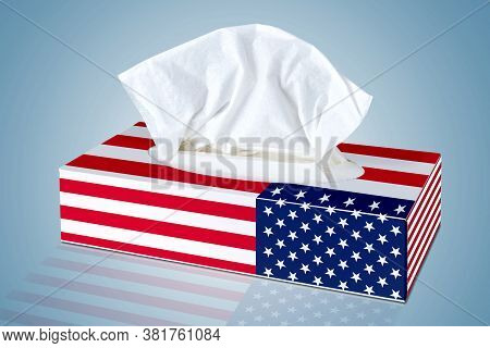 Blank Tissue From  Cosmetic Tissues Box Illustrated With American Flag
