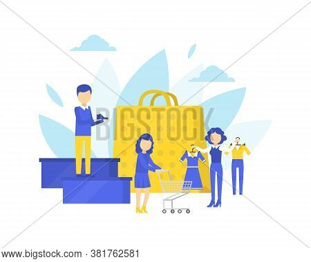 People Choosing And Buying Clothes In Clothing Store, Shopping Assistant Help Customers Cartoon Vect