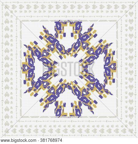 Square Scarf Ethnic Ornate Print Silk. Shawl Ikat Embroidery Autentic Fabric Original Ornament Carpe