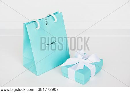 Tiffany And Co. Iconic Blue Gift Boxes On White Background.