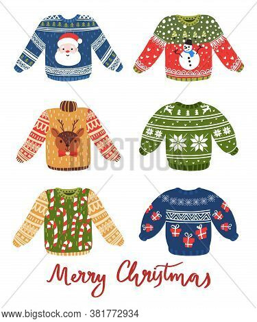 Vector Ugly Sweaters Set For Christmas Party. Warm Knitted Jumpers With Snowflake, Snowman, Santa, C