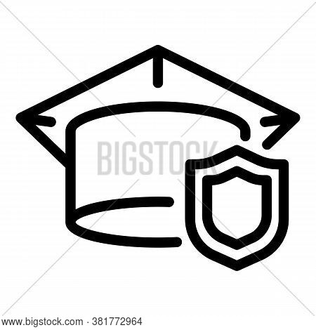 Secured Study Icon. Outline Secured Study Vector Icon For Web Design Isolated On White Background