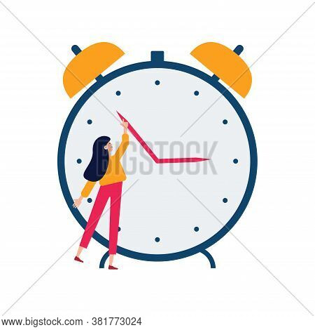 Daylight Saving Time Concept. Young Woman Turn The Hand Of The Clock. Turning To Winter Or Summer Ti