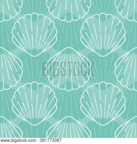 Seashell Seamless Pattern. Vector Background Included Line Icons As Ocean Sea Shells, Scallop Nautic