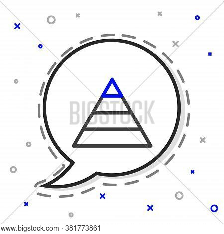 Line Business Pyramid Chart Infographics Icon Isolated On White Background. Pyramidal Stages Graph E