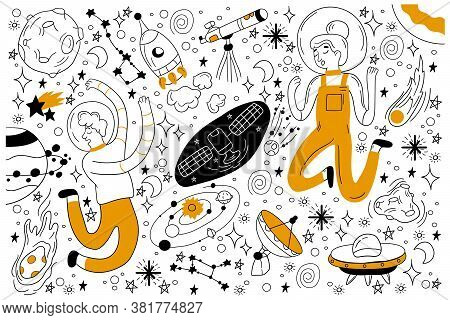 Space Doodle Set. Collection Of Hand Drawn Sketches Templates Of People Astronauts With Spacesuit Fl