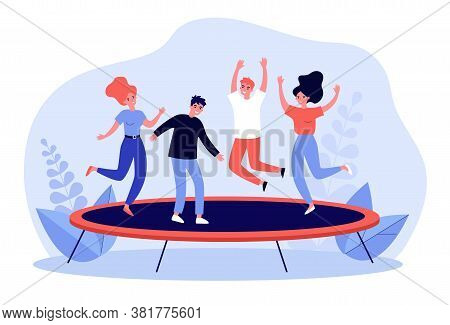 Happy Friends Leaping And Having Active Fun Time In Park. Young Girls And Guys Jumping On Trampoline