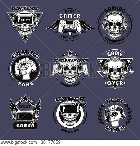 Video Game Tournament Emblems Set. Collection Of Badges With Skulls, Gamepads, Vr Headsets. Vector I