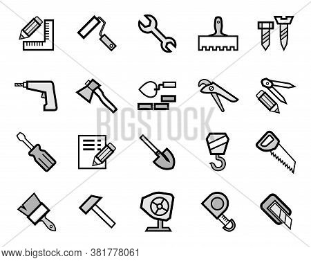 Construction And Repair, Icons, Set, Gray. Grey Icons With A Black Outline. Vector.