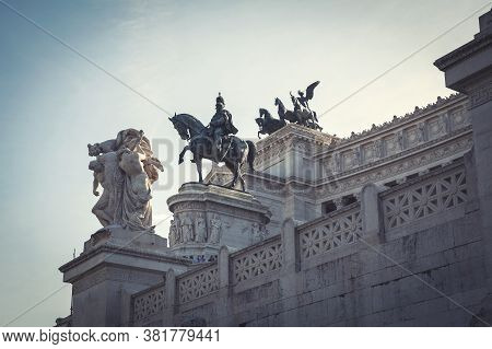 Equestrian Statue Of Victor Emmanuel Ii, The First King Of A Unified Italy, A Bronze Work By Enrico
