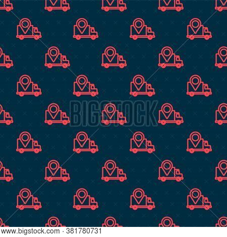 Red Line Delivery Tracking Icon Isolated Seamless Pattern On Black Background. Parcel Tracking. Vect