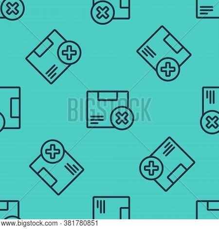 Black Line Carton Cardboard Box And Delete Icon Isolated Seamless Pattern On Green Background. Box,