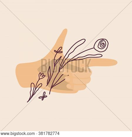 Vector Illustration Of Hand Holding Pistol With Flowers. Flat And Line Art Isolated. Trend, Fashiona