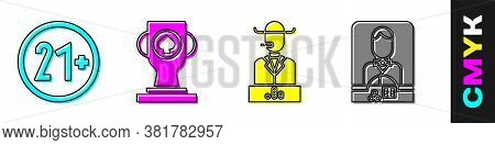Set 21 Plus, Casino Poker Trophy Cup, Poker Player And Casino Dealer Icon. Vector