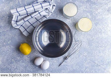Step By Step Recipe. Cooking Pie Or Semolina Cake. Step 1 Ingredients: Empty Metal Bowl, Semolina, S