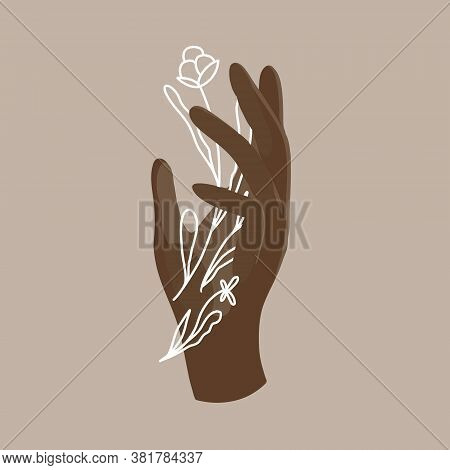 Vector Illustration Of A Black African American Hand With White Doodle Flowers. Flat And Line Art Is