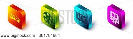 Set Isometric Movie, Film, Media Projector, Film Reel, Vhs Video Cassette Tape And Monitor With Hd V