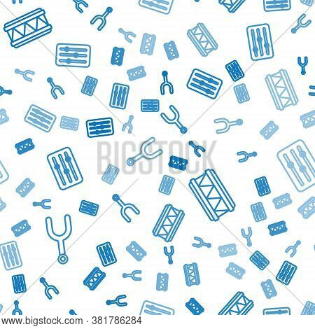 Set Line Musical Tuning Fork, Drum And Sound Mixer Controller On Seamless Pattern. Vector