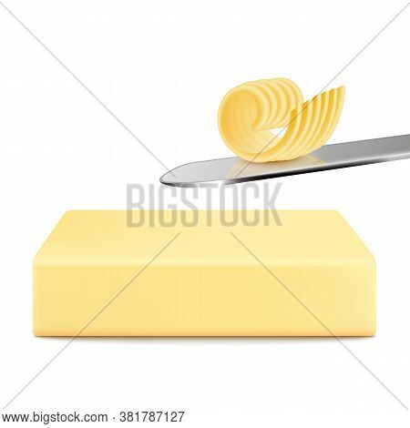 White Block Of Butter With Single Fork Butter Curl On Silver Knife