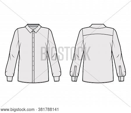 Classic Shirt Technical Fashion Illustration With Basic Collar With Stand, Long Sleeves, Oversized B