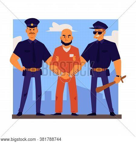 Police Officers Characters Arrest Or Escort Criminal Flat Vector Illustration.