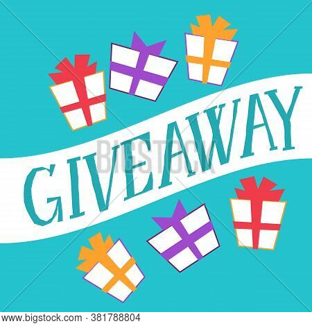 Giveaway Banner For Social Media Contests Special Offer Flat Vector Illustration.