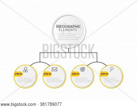 Thin Line Infographic Template With 4 Steps. Modern Business Concept Infographics With Options For B