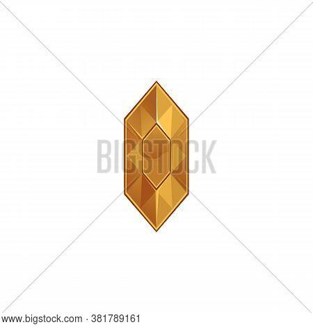Yellow Diamond Or Topaz Gem Crystal Icon, Cartoon Vector Illustration Isolated.