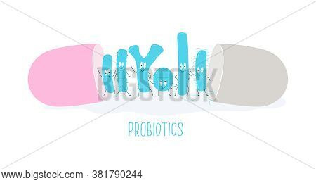 Types Of Useful Probiotics In The Capsule. Vector Illustration.