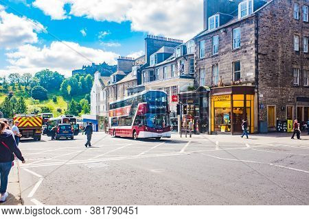 Edinburgh, Scotland 6th Aug 2020 Public Transport, I.e. Buses, Taxis And Trams On Princes Street In